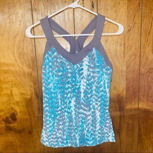 Lucy Powermax Blue Gray Printed Tank Top Small